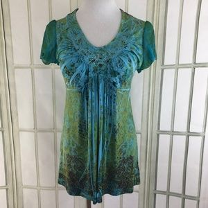 Sequin Trim Ruched V Neck Slinky Satiny Tunic Top